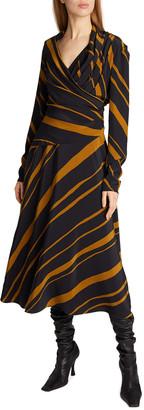 Proenza Schouler Diagonal Stripe Twisted A-Line Dress
