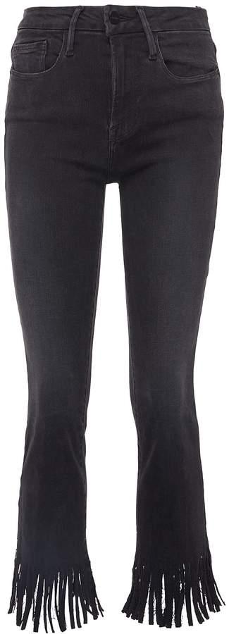 Frame 'Le Crop Mini Boot' fringe cuff jeans