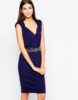 Little Mistress Body-Conscious Midi Dress with Embellished Waistband V Neck