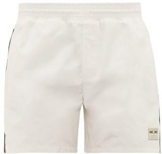 Gucci Web-stripe Technical Swim Shorts - Mens - White