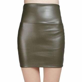 Juleya Women Faux PU Leather Candy Color Skirt High Waist Fleece Warm Sexy Pencil Mini Bodycon Stretchy Bodycon Skirts Black
