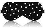 Lonfrote Stars Natural Silk Sleep Mask, Smooth Blindfold with Carry Pouch for Travel, Relax, Shift Workers, Super Soft Fabric (Black)