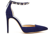Alexandre Birman Embellished Black Suede Pointed Court Shoes