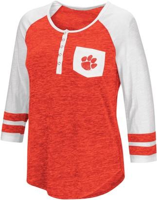 Colosseum Women's Heathered Orange Clemson Tigers Inconceivable! Three-Quarter Sleeve Pocket Henley