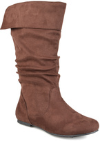 Journee Collection Brown Shelley Wide-Calf Fold-Over Boot