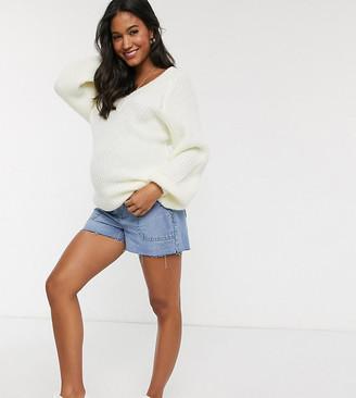 Urban Bliss Maternity denim shorts with frayed hem