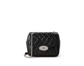 Mulberry Small Darley Shoulder Bag Black and Silver Toned Quilted Shiny Calf