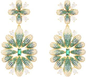 Latelita Babylon Flower Drop Earrings Gold Green