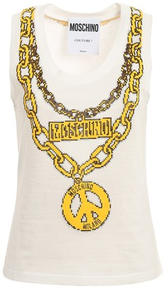 Moschino Chain Print Sleeveless Top