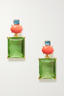 Kenneth Jay Lane + Brandon Maxwell Gold-plated Multi-stone Earrings - one size