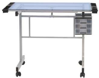 Studio Designs Vision Height Adjustable Glass Drafting Table