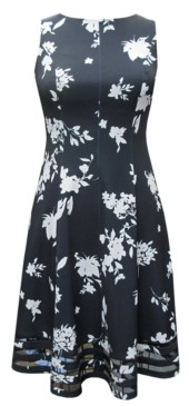 Jessica Howard Plus Size Floral-Print Illusion-Hem Dress