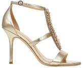 Via Spiga Philomena Embellished Metallic Leather T-Strap Sandals