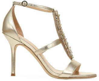 Via Spiga Philomena Embellished Metallic Leather T-Strap Sandals