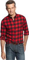 John Ashford Men's Big and Tall Long Sleeve Buffalo Check Flannel Shirt