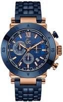 GUESS Men's GC Blue & Rose Gold Timepiece