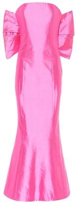 Rasario Silk-satin strapless midi dress