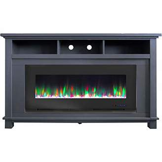 Cambridge Silversmiths San Jose Electric Fireplace TV Stand in with Color-Changing LED Flames and Crystal Rock Display