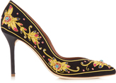 Malone Souliers Brenda embroidered velvet pumps