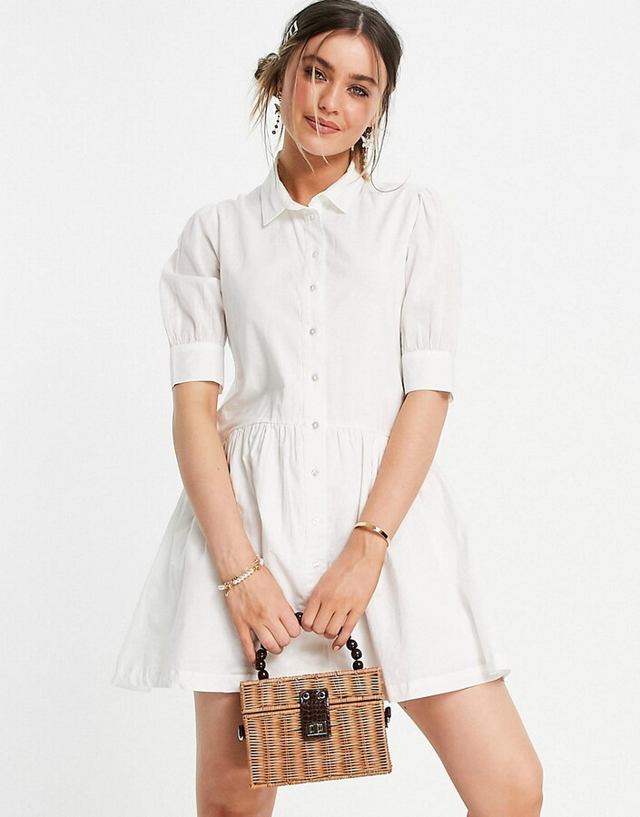 Thumbnail for your product : Pimkie poplin smock dress in white