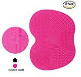 Codream 2 Pcs Makeup Brush Cleaning Mat, Silicon Makeup Brush Cleaner Pad Includes 7 Suction Cups on the Back, 1 Apple Shaped Large Mat+1 Round Shaped Mini Mat (Pink) Gifts for Women