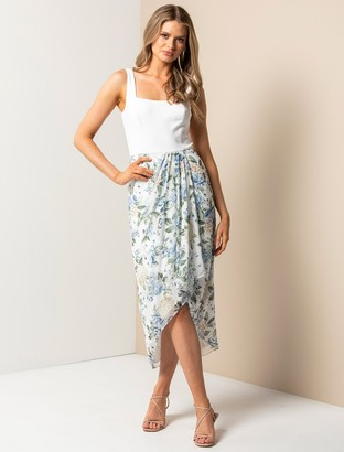 Forever New Lottie Square-Neck Two-in-One Midi Dress - Provincial Blue Floral - 10