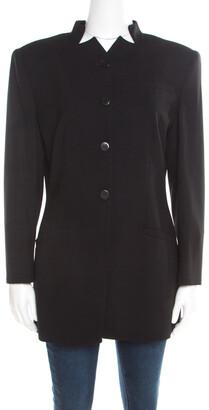 Giorgio Armani Black Wool Mandarin Collar Blazer L
