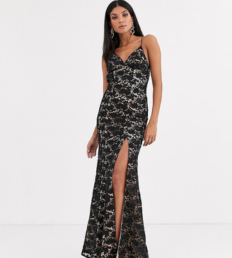 Jarlo Tall cami strap lace dress with low back in black