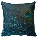 HLPPC Glittery Aqua Peacock Feather Pillow Case Personalized Inch Square Cotton Throw Pillow Case Decor Cushion Covers
