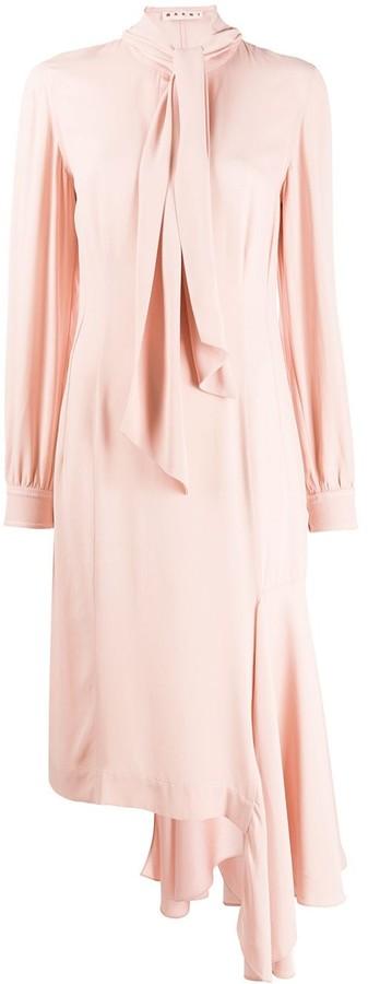 Marni Scarf Asymmetric Midi Dress
