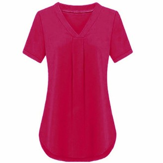 CUTUDEWomenCasual TShirtsShortV-Neck SleeveSummerSolid Color TeeBlouseTopsLoose LadiesFashion (Rose XXL)