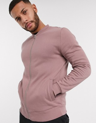 ASOS DESIGN jersey bomber jacket in dusty mauve