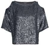 Petite double layered sequin cold shoulder top