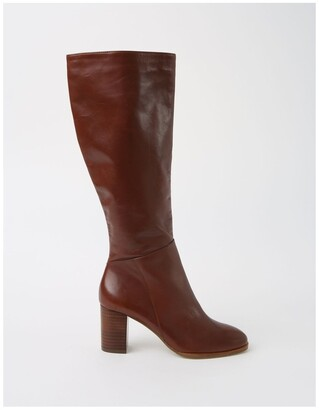 Basque Robyn Tan Cow Leather Knee High Heeled Boot