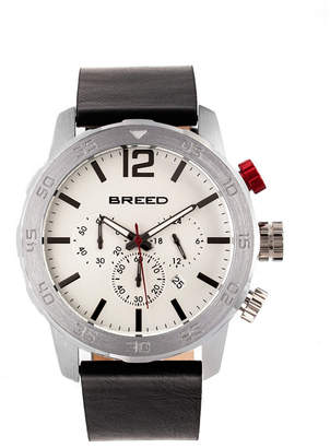 Breed Quartz Manuel Chronograph Silver Genuine Leather Watches 46mm