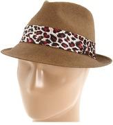 San Diego Hat Company PBF4218 Leopard Print Straw Fedora (Almond) - Hats