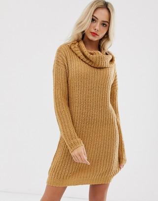 Brave Soul soda cowl neck jumper dress in spiced camel-Tan