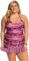 Kenneth Cole Plus Size Scarfs on Deck UNeck Tankini Top - 8139305