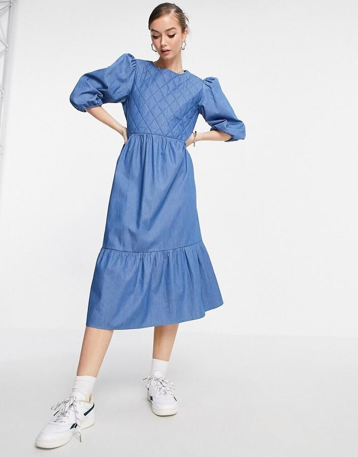 Selected Minty denim smock midi dress in blue