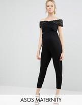 Asos Lace Bardot Wrap Jumpsuit