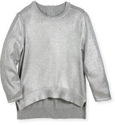 Stella McCartney Jewel High-Low Foil Pullover Sweater, Size 4-14