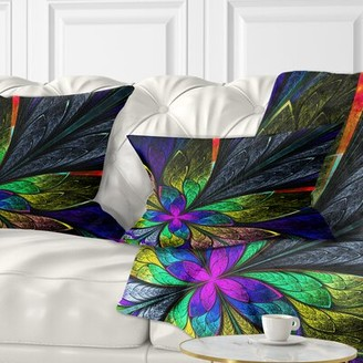 East Urban Home Floral Fractal Flower Pattern Lumbar Pillow