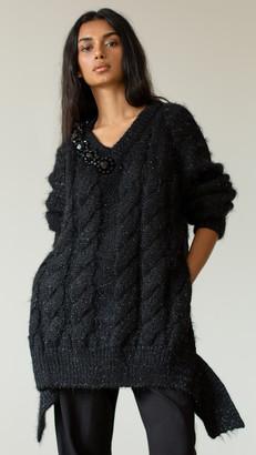 Simone Rocha V Neck Cable Sweater W/ Beading