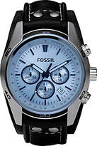 Fossil Ch2564 Coachman Chronograph Date Leather Strap Watch, Black/blue