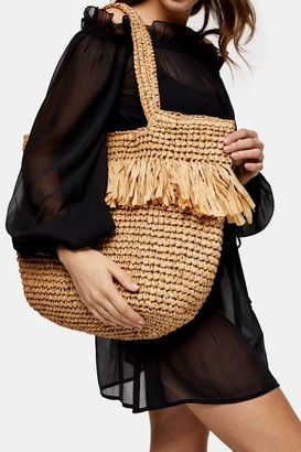 Topshop Womens Fenn Fringe Tote Bag - Natural
