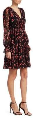 Giambattista Valli Printed V-Neck Ruffle Silk A-Line Dress