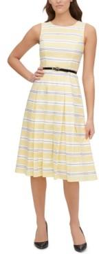 Tommy Hilfiger Striped Cotton Belted Fit & Flare Dress