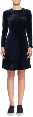 Stella McCartney Side Lacing Crewneck Long-Sleeve Fitted A-Line Velvet Short Dress
