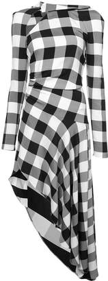 Monse checked asymmetric midi dress