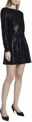 Saint Laurent Sparkly Boat-Neck Long-Sleeve Mini Dress